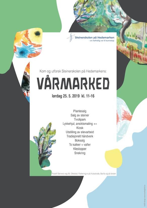 Plakat vårmarked 2019 Steinerskolen på Hedemarken