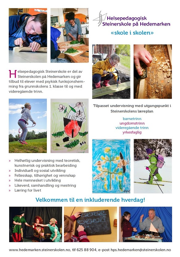 plakat Helsepedagogisk Steinerskole 2019