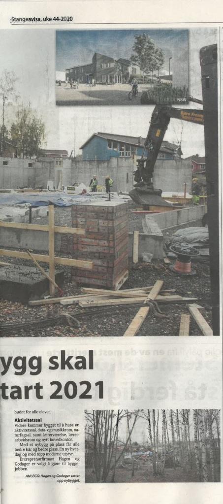 Steinerskolens nybygg skal stå ferdig til skolestart 2021, Stangeavisa 44-2020